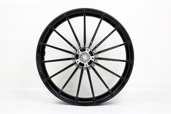 Vorderrad Touring CVO, 19 x 3.5, schwarz glänzend u. kontrast. schw. eloxiert, mit Reifen