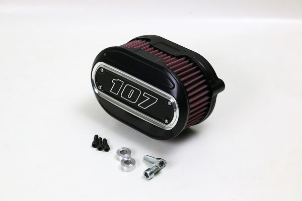 Luftfilter Performance, alle Milwaukee 8 Modelle, Inlay 107 cui, Kontrast, schwarz eloxiert
