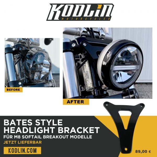 Bates Style Scheinwerferhalter für M8 Breakout Gabelbrücken, schwarz pulverbeschichtet