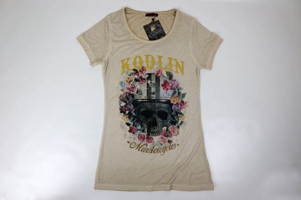 Kodlin Ladies T-Shirt, Skull & Flowers, sand