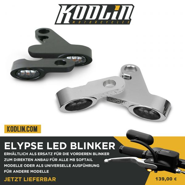 Kodlin Elypse LED Mini Blinker vorne, Softails M8 ab 2018, chrom, Set