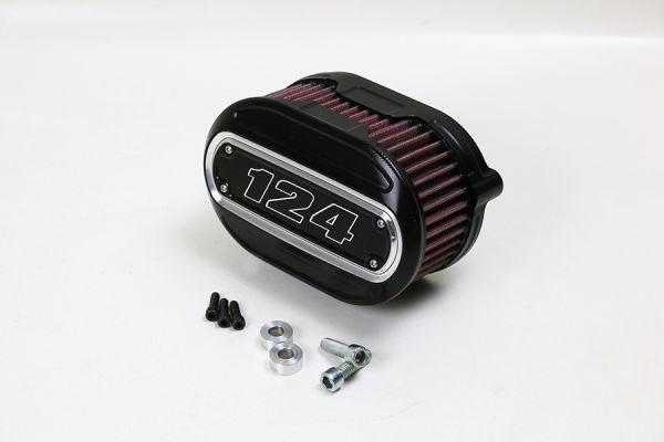 Luftfilter Performance, alle Milwaukee 8 Modelle, Inlay 124 cui, Kontrast, schwarz eloxiert