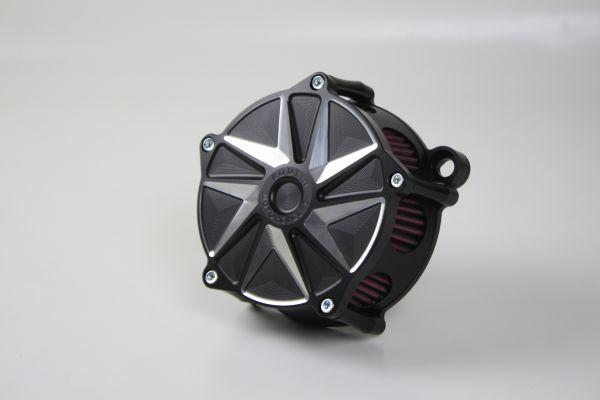Luftfilter PHASE, alle Softail u. Dyna Modelle ab 2000, Kontrast, schwarz eloxiert