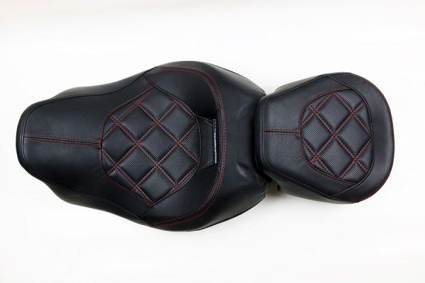 Sitzbank Road Glide / Street Glide, schwarz Leder 2-teilig